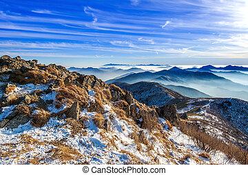 Peak of Deogyusan mountains in winter, South Korea. Winter lanscape.