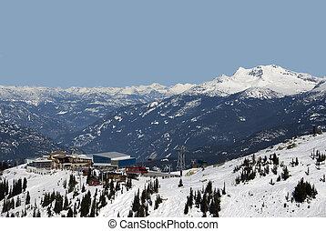Coast Mountains at Whistler with Peak 2 Peak Gondola station