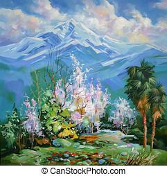 peaks., aceite, lona., pintoresco, sivenkov., nevoso, jugoso, painting:, tones., brillante, artístico, plano de fondo, nikolay, membrillo, florecimiento, trabajo, author: