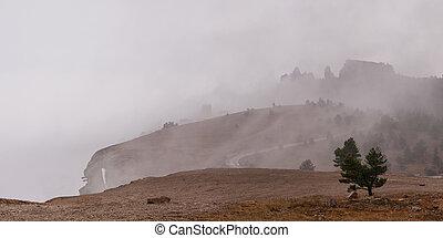 Peaks in mist