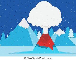 peaks., neigeux, style., plat, vecteur, paysage montagne, éruption, illustration, hiver, volcan, conception
