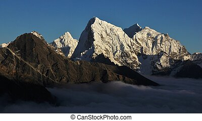 Peaks of Ama Dablam, Cholatse and Taboche.
