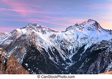 Peaks of French Alps at sunset