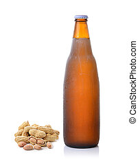peanut and beer bottle on white background