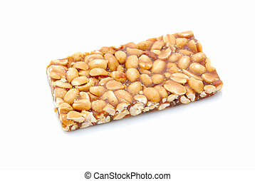 A delicious peanut bar snack. Image isolated on white studio background.