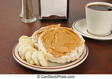 Peanut butter and banana on rice cakes