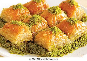 peanut butter baklava slices