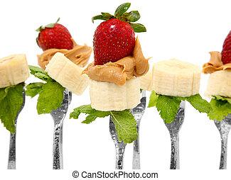 Peanut Butter Banana and Strawberry - Banana slices, peanut...