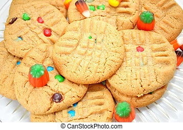 Peanut Butter Cookies with Halloween Candies