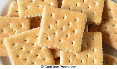 Peanut Butter Cracker Sandwiches - Overhead view of a plate...
