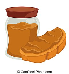 Peanut butter in jar and on bread isolated nut product -...