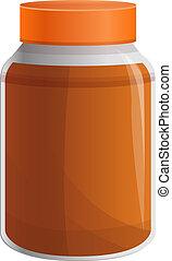 Peanut butter jar icon, cartoon style