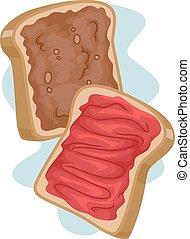 Peanut Butter Jelly Sandwich - Illustration of a Sandwich...