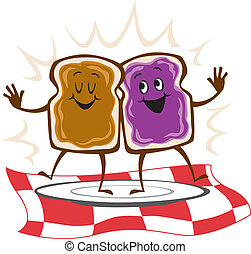 Vector Illustration of a peanut butter jelly sandwich (open-faced)