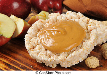 Peanut butter on a rice cake