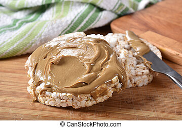 Peanut butter on rice cakes