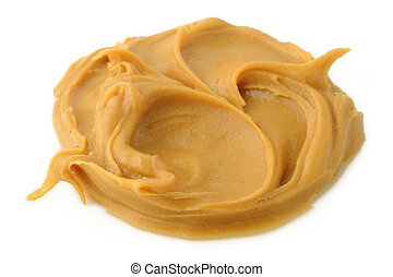 eanut butter on white background