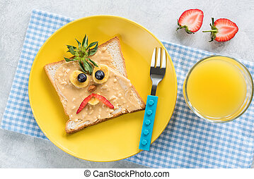 Peanut Butter Sandwich With Funny Angry Face For Kids