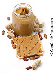 Slice of bread with peanut butter isolated on white