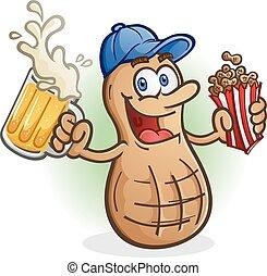 Peanut Cartoon Character with Beer