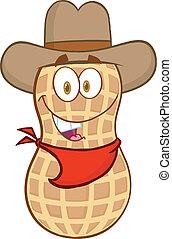 Peanut Cowboy Cartoon Character - Smiling Peanut Cowboy...