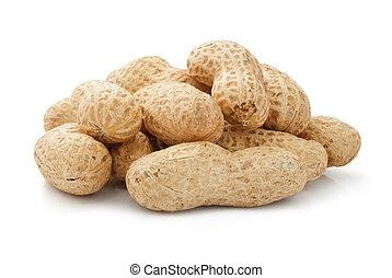 peanut fruits dried legume isolated on white background