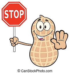 Peanut Holding A Stop Sign