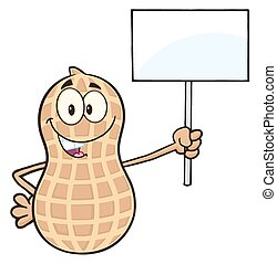 Peanut Holding Up A Blank Sign