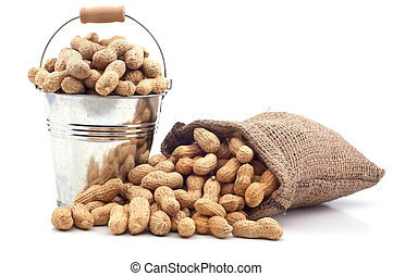 Peanut in a bucket on a white background