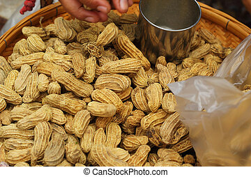 Peanut in the market on sale