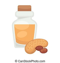 Peanut oil in bottle. Vector flat isolated icon