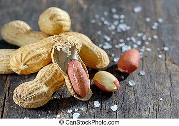 peanut on wooden background