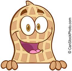Peanut Over A Sign - Peanut Cartoon Mascot Character Over A...