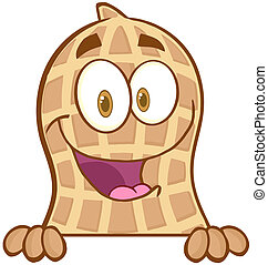 Peanut Over A Sign - Peanut Cartoon Mascot Character Over A...