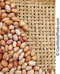 Peanut on the wood background