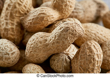 Peanut shells food background, close-up, shallow depth of field, macro.