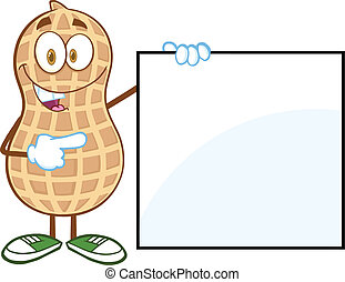 Peanut Showing A Blank Sign - Peanut Cartoon Mascot...
