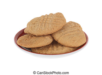Plate of peanutbutter cookies isolated on white