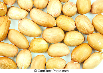 Peanuts - close up , on white background