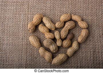 Peanuts form a heart shape on canvas