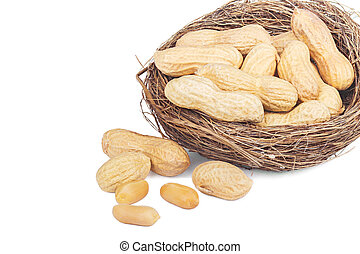 Peanuts in a basket isolated on white background