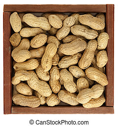 peanuts in a rustic, wooden box