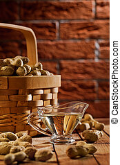 peanuts in basket and on the table