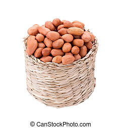 Peanuts in basket isolated on white background