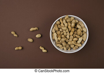 peanuts in bowl top view