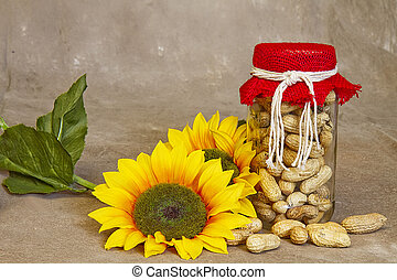 Peanuts in Jar with Sunflowers