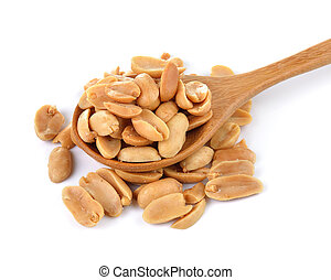 peanuts in spoon on white background