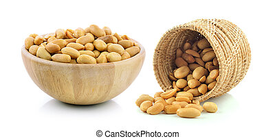 peanuts in the basket and wood bowl on white background