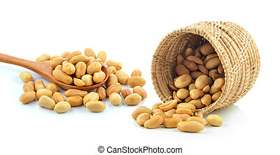peanuts in the basket on white background
