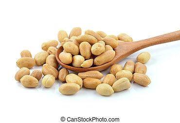 peanuts in the wood spoon on white background